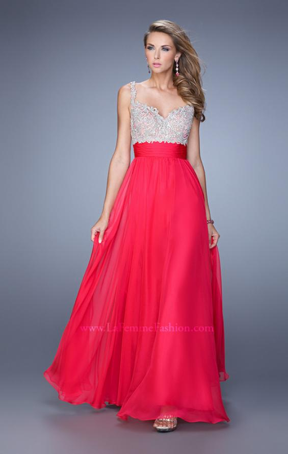 Picture of: Jeweled Encrusted Embroidered Long Chiffon Prom Dress in Pink, Style: 21505, Detail Picture 7