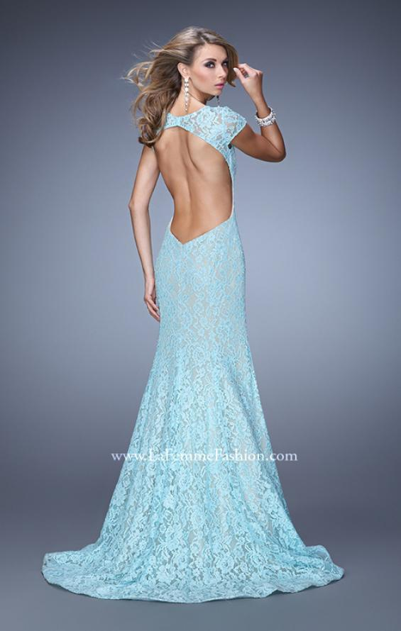 Picture of: Lace Mermaid Gown with Cap Sleeves and Open Back in Mint, Style: 21509, Main Picture