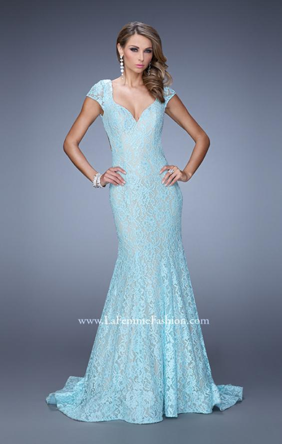 Picture of: Lace Mermaid Gown with Cap Sleeves and Open Back in Mint, Style: 21509, Back Picture