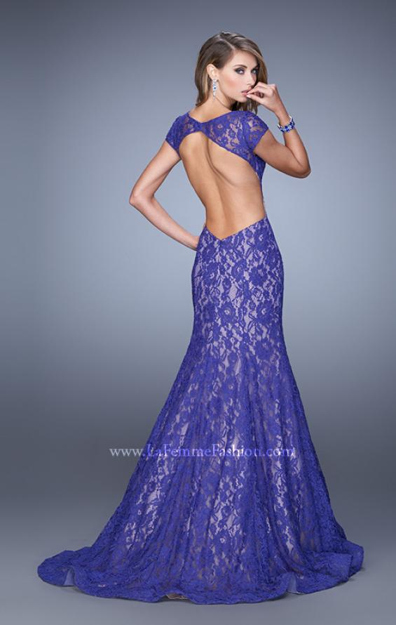 Picture of: Lace Mermaid Gown with Cap Sleeves and Open Back in Purple, Style: 21509, Detail Picture 1