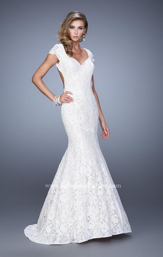 Picture of: Lace Mermaid Gown with Cap Sleeves and Open Back in White, Style: 21509, Detail Picture 2