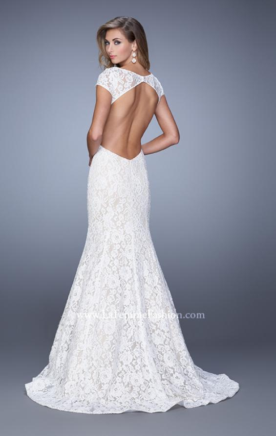 Picture of: Lace Mermaid Gown with Cap Sleeves and Open Backin White, Style: 21509, Detail Picture 3