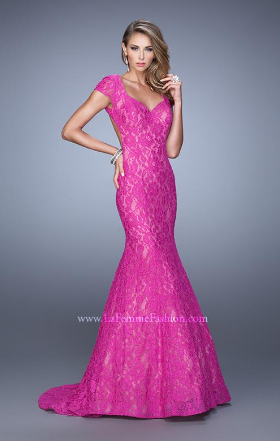 Picture of: Lace Mermaid Gown with Cap Sleeves and Open Back in Pink, Style: 21509, Detail Picture 5