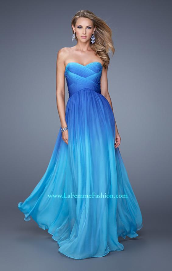 Picture of: Sexy Ombre Print Chiffon Prom Gown with High Waist in Blue, Style: 21515, Main Picture