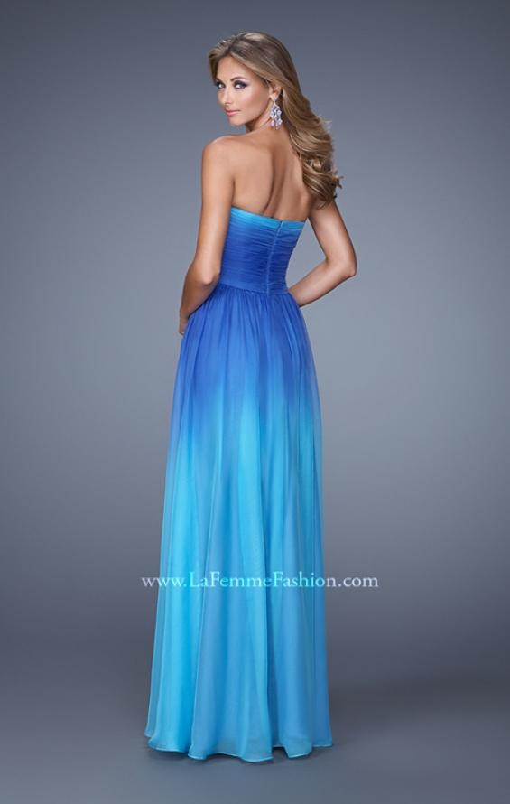 Picture of: Sexy Ombre Print Chiffon Prom Gown with High Waist in Blue, Style: 21515, Back Picture