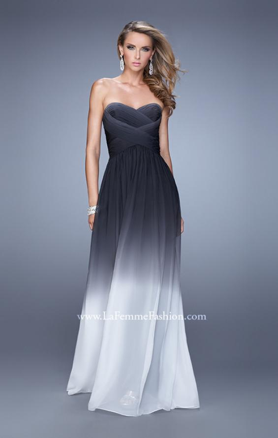 Picture of: Sexy Ombre Print Chiffon Prom Gown with High Waist in Black, Style: 21515, Detail Picture 1
