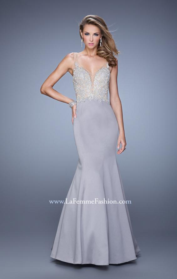 Picture of: Satin Mermaid Dress with V Neck and Metallic Detail, Style: 21522, Main Picture