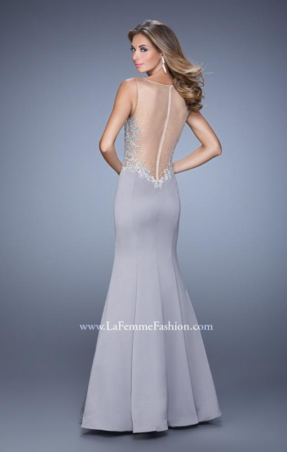 Picture of: Satin Mermaid Dress with V Neck and Metallic Detail, Style: 21522, Back Picture