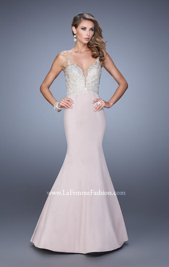 Picture of: Satin Mermaid Dress with V Neck and Metallic Detail, Style: 21522, Detail Picture 1