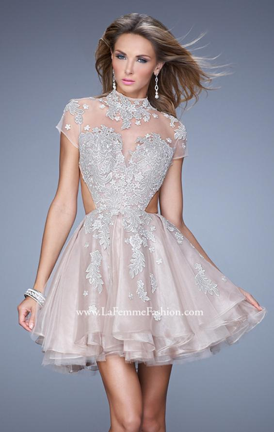 Picture of: Flirty Cocktail Dress with Layered Skirt and Embroidery in Pink, Style: 21530, Main Picture