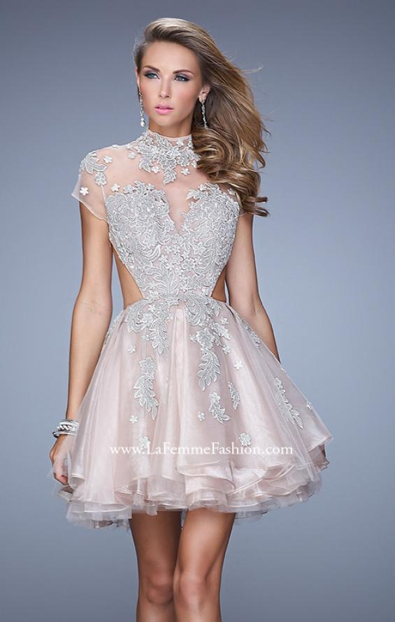 Picture of: Flirty Cocktail Dress with Layered Skirt and Embroidery in Pink, Style: 21530, Detail Picture 1