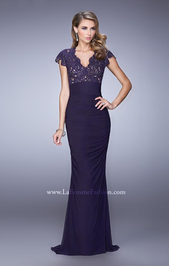 Picture of: Form Fitting Ruched Prom Dress with Rhinestones, Style: 21551, Main Picture