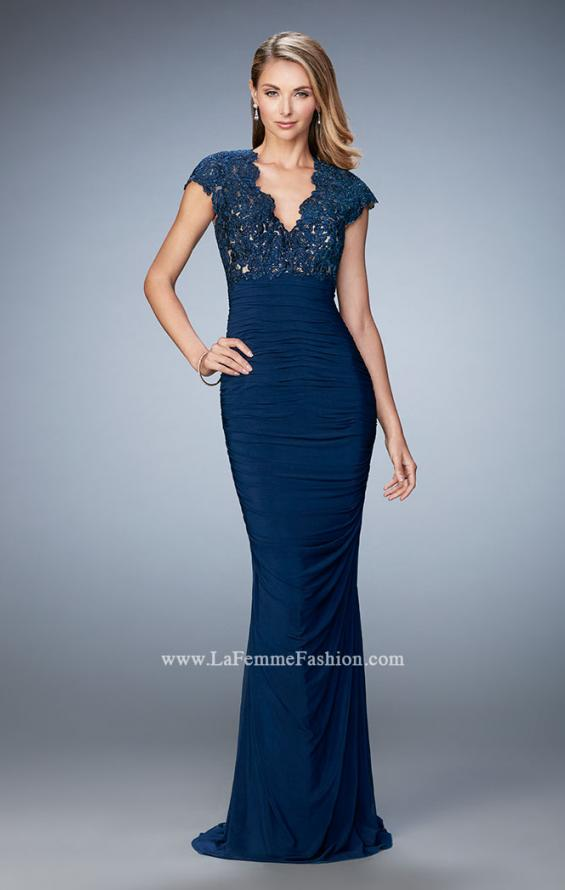 Picture of: Form Fitting Ruched Prom Dress with Rhinestones, Style: 21551, Detail Picture 1