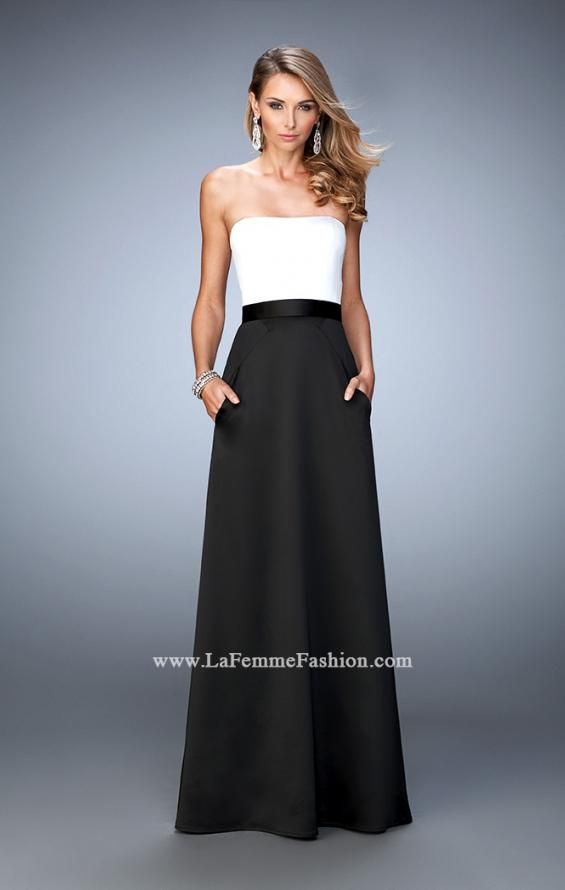 Picture of: Long Satin Prom Gown with Pockets and Belted Waist in Black and White, Style: 21555, Main Picture