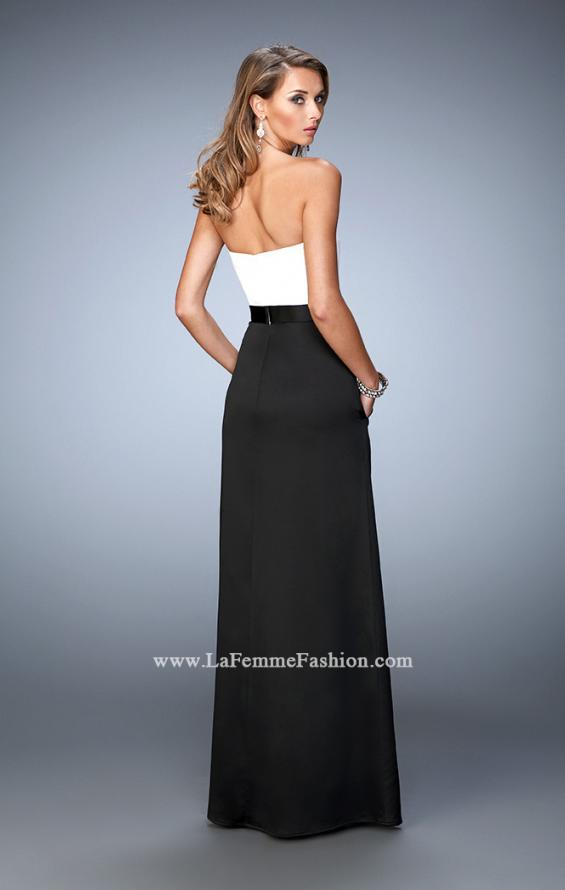 Picture of: Long Satin Prom Gown with Pockets and Belted Waist in Black and White, Style: 21555, Back Picture