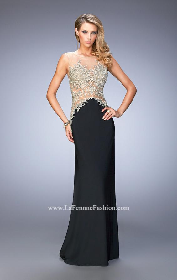 Picture of: Jersey Dress with Illusion Bodice, Train, and Rhinestones in Black, Style: 21558, Back Picture