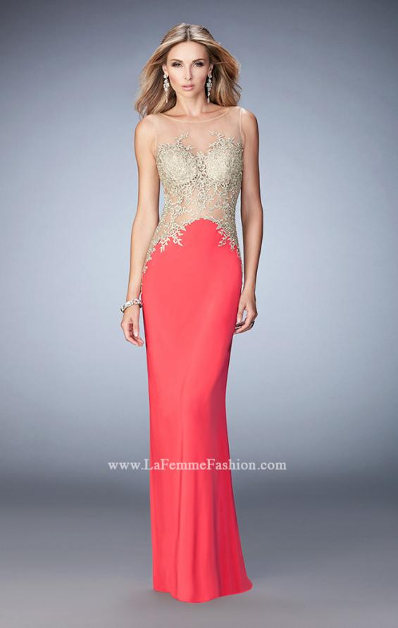Picture of: Jersey Dress with Illusion Bodice, Train, and Rhinestones in Coral, Style: 21558, Detail Picture 1