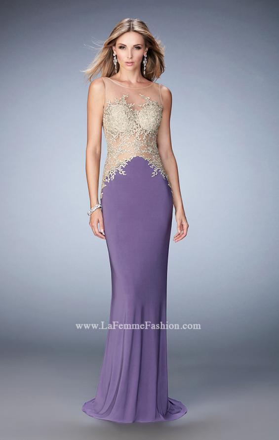 Picture of: Jersey Dress with Illusion Bodice, Train, and Rhinestones in Purple, Style: 21558, Detail Picture 2