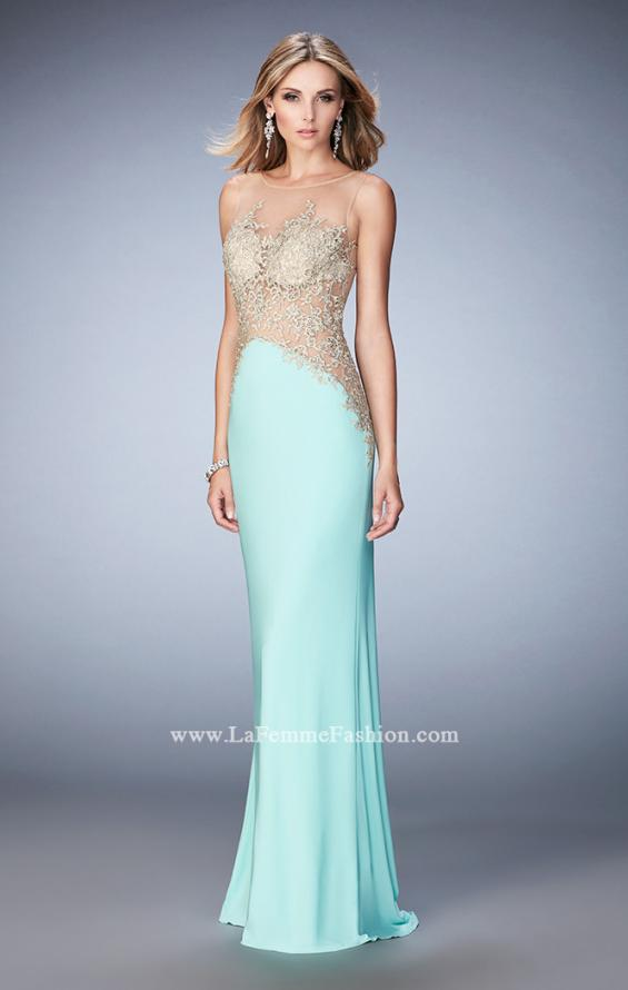 Picture of: Jersey Dress with Illusion Bodice, Train, and Rhinestones in Mint, Style: 21558, Detail Picture 3