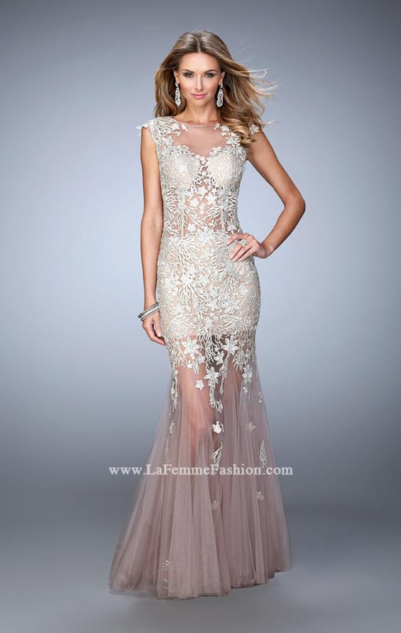 Picture of: Net Mermaid Prom Dress with Lace Appliques and Train, Style: 21565, Main Picture