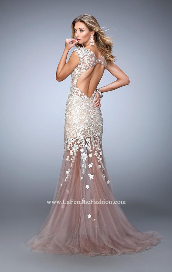 Picture of: Net Mermaid Prom Dress with Lace Appliques and Train, Style: 21565, Back Picture