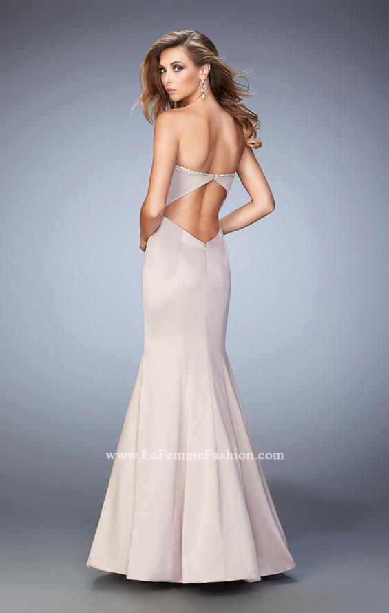 Picture of: Long Mermaid Prom Dress with Stones and Cut Out Back in Champagne, Style: 21591, Back Picture