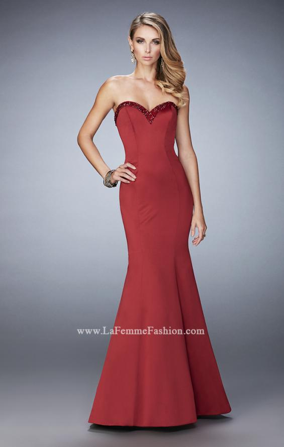 Picture of: Long Mermaid Prom Dress with Stones and Cut Out Back in Red, Style: 21591, Detail Picture 1