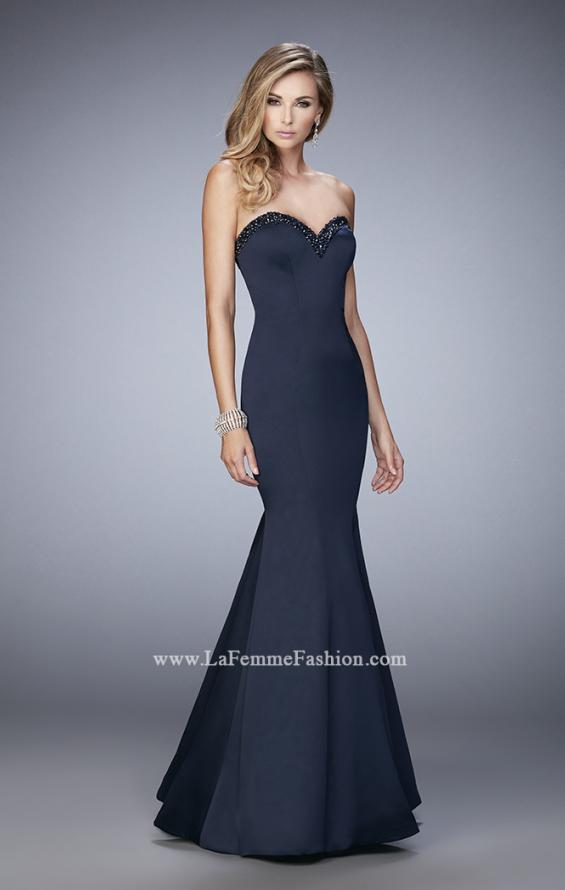 Picture of: Long Mermaid Prom Dress with Stones and Cut Out Back in Navy, Style: 21591, Detail Picture 2