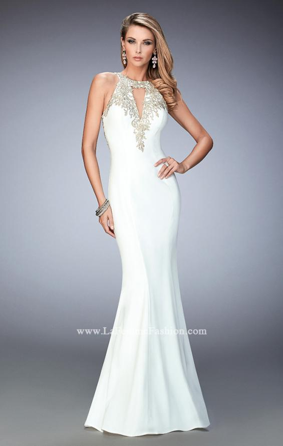 Picture of: Jersey Mermaid Gown with Metallic Lace Appliques in White, Style: 21607, Main Picture
