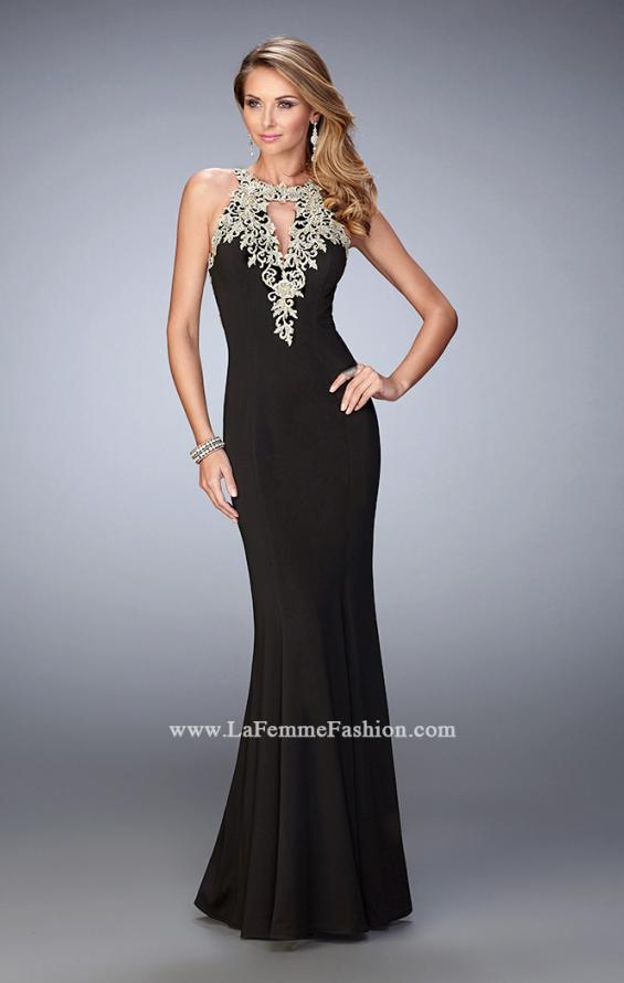 Picture of: Jersey Mermaid Gown with Metallic Lace Appliques in Black, Style: 21607, Detail Picture 1