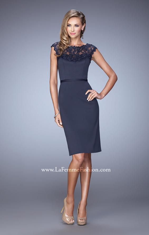 Picture of: Stretch Satin Dress with Intricate Lace Detailing, Style: 21619, Detail Picture 1