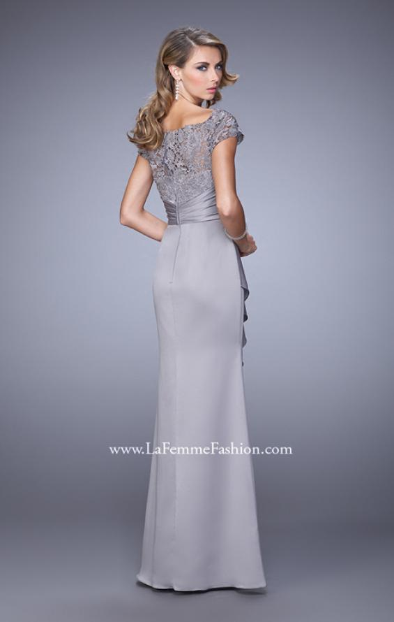 Picture of: Glam Evening Dress with Scoop Neckline and Lace Bodice in Silver, Style: 21620, Back Picture