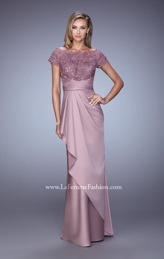 Picture of: Glam Evening Dress with Scoop Neckline and Lace Bodice in Pink, Style: 21620, Detail Picture 1