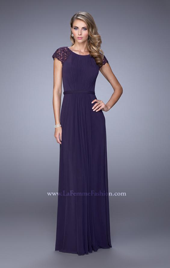 Picture of: Cap Sleeve Embroidered Dress with Cascading Ruffles in Purple, Style: 21621, Main Picture