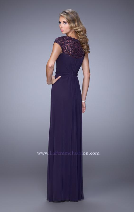 Picture of: Cap Sleeve Embroidered Dress with Cascading Ruffles in Purple, Style: 21621, Back Picture