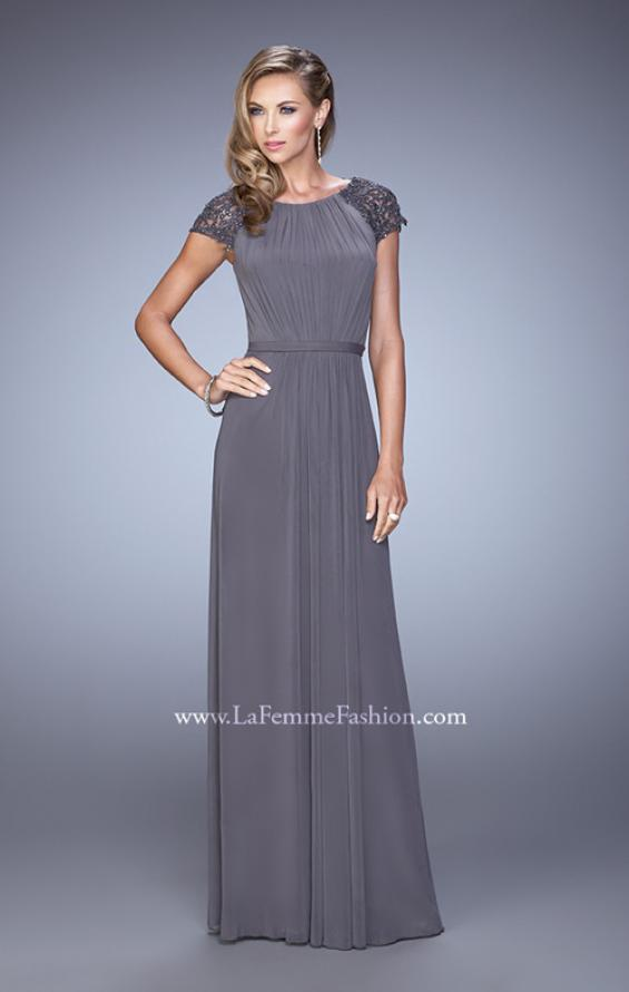 Picture of: Cap Sleeve Embroidered Dress with Cascading Ruffles in Gray, Style: 21621, Detail Picture 1