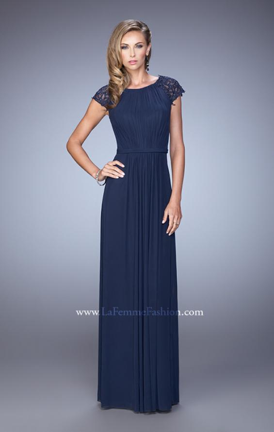 Picture of: Cap Sleeve Embroidered Dress with Cascading Ruffles in Navy, Style: 21621, Detail Picture 2