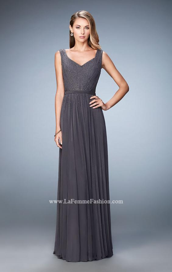 Picture of: V Neck Evening Dress with Jewel Adorned Bodice, Style: 21624, Detail Picture 3