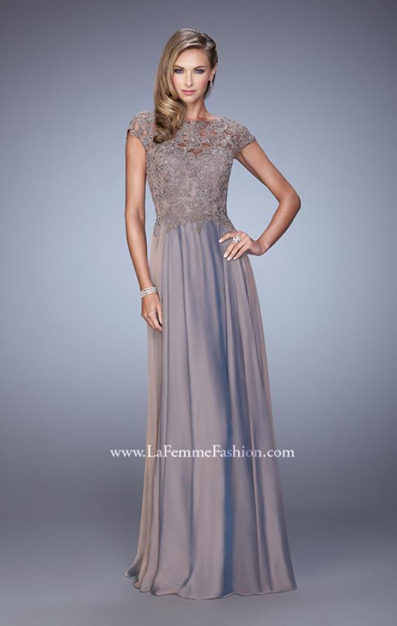 Picture of: Chiffon Dress with Lace Bodice and Cap Sleeves in Cocoa, Style: 21627, Main Picture