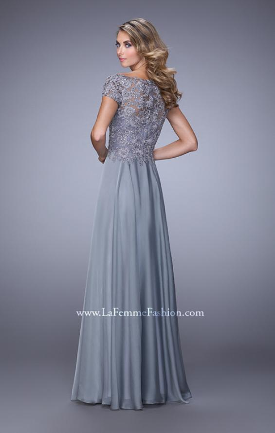 Picture of: Chiffon Dress with Lace Bodice and Cap Sleeves in Silver, Style: 21627, Back Picture