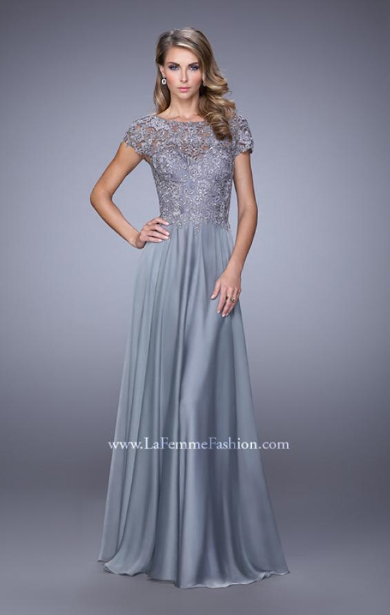 Picture of: Chiffon Dress with Lace Bodice and Cap Sleeves in Silver, Style: 21627, Detail Picture 1