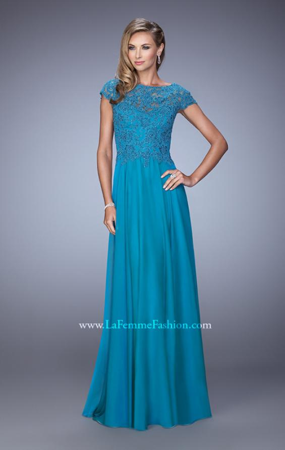 Picture of: Chiffon Dress with Lace Bodice and Cap Sleeves in Teal, Style: 21627, Detail Picture 2