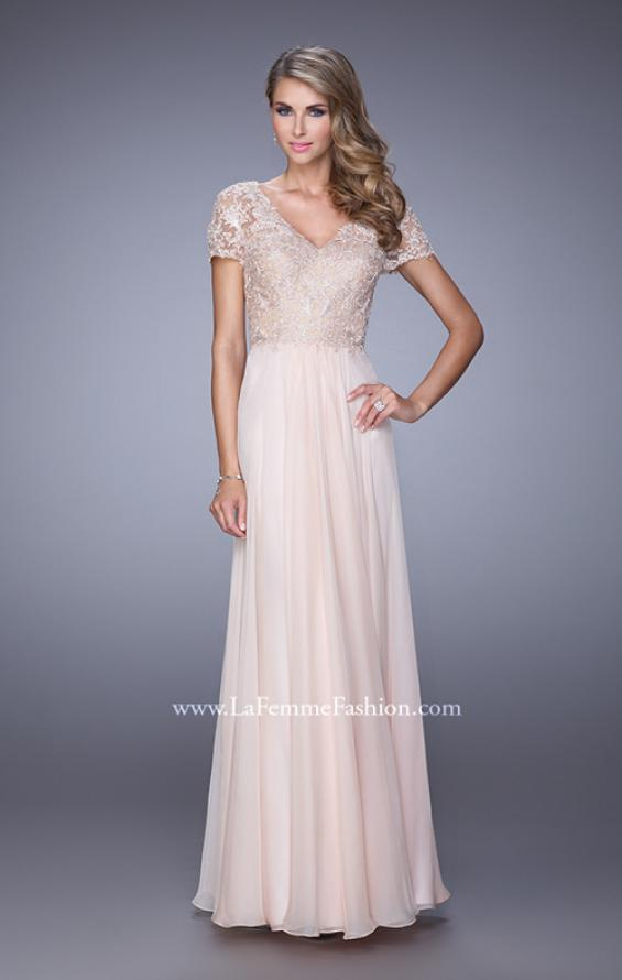 Picture of: Short Sleeve Evening Dress with Lace Overlay Bodice, Style: 21632, Main Picture