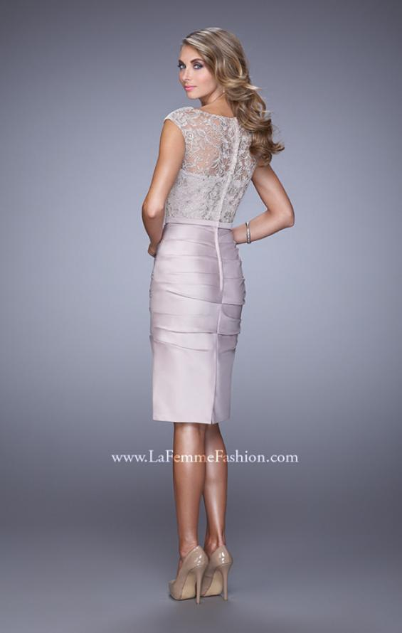 Picture of: Stretch Satin Cocktail Dress with Ruched Skirt, Style: 21633, Back Picture