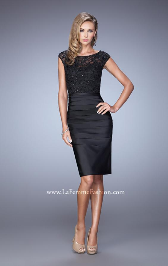 Picture of: Stretch Satin Cocktail Dress with Ruched Skirt, Style: 21633, Detail Picture 1