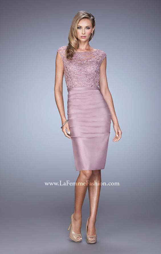 Picture of: Stretch Satin Cocktail Dress with Ruched Skirt, Style: 21633, Detail Picture 2