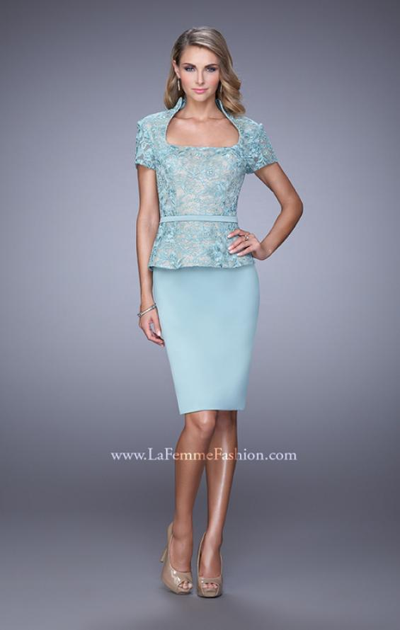 Picture of: Stretch Satin Dress with Collar and Low Scoop Neckline, Style: 21641, Main Picture