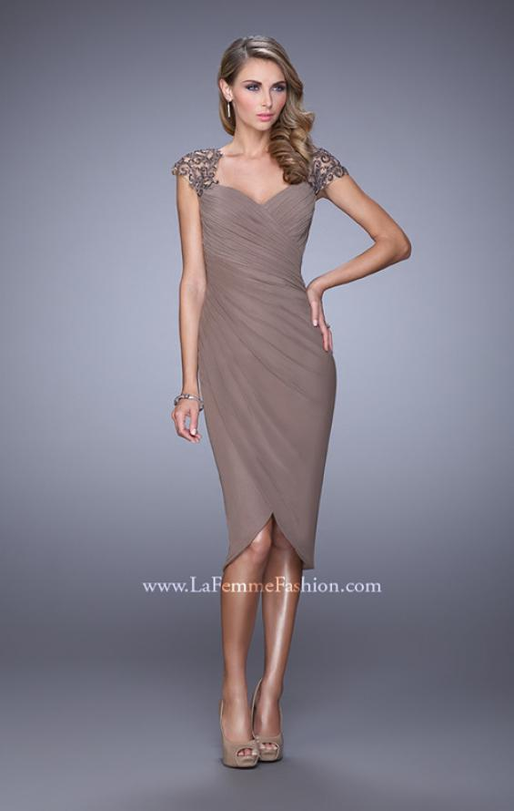 Picture of: Net Jersey Cocktail Dress with Embroidered Sleeves in Cocoa, Style: 21648, Main Picture