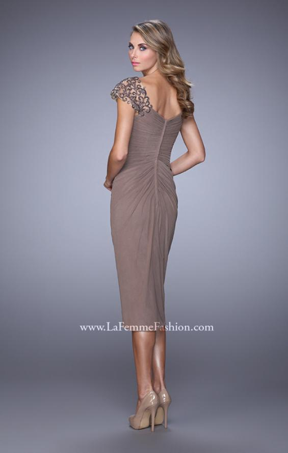Picture of: Net Jersey Cocktail Dress with Embroidered Sleeves in Cocoa, Style: 21648, Back Picture