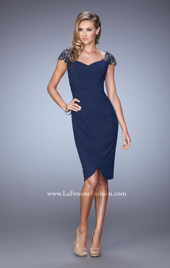 Picture of: Net Jersey Cocktail Dress with Embroidered Sleeves in Navy, Style: 21648, Detail Picture 1